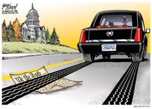 Cartoonist Gary Varvel: Obama runs over the Constitution